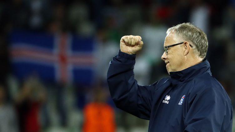 Le sélectionneur islandais Lars Lagerbäck, après le match de poules de l'Euro Portugal-Islande (1-1), à Saint-Etienne (Loire), le 14 juin 2016. (ODD ANDERSEN / AFP)