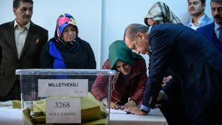Le président turc Recep Tayyip Erdogan signe la fiche d'émargement après avoir voté aux élections législatives, dimanche 1er novembre 2015, à Istanbul. (OZAN KOSE / AFP)