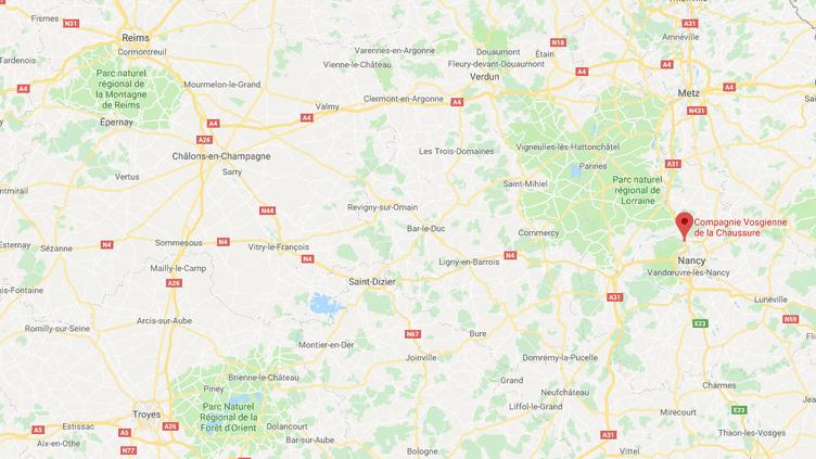Quatre repreneurs potentiels se sont manifestés pour la reprise de la Compagnie vosgienne de la chaussure, àChampigneulles (Meurthe-et-Moselle). (GOOGLE MAPS / FRANCEINFO / RADIO FRANCE)