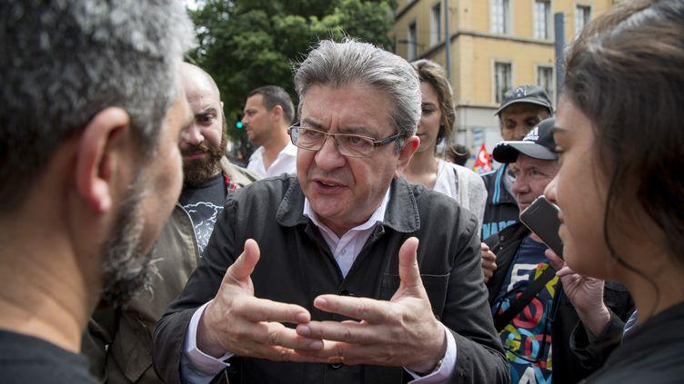 Le député de La France insoumise Jean-Luc Mélenchon lors de la manifestation de la fête du Travail à Marseille, le 1er mai 2018. (AVENIR PICTURES / AFP)