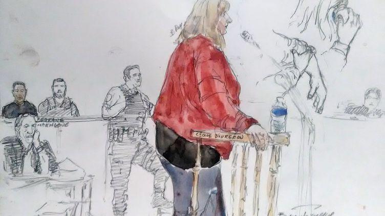 Cécile Bourgeon, mère de Fiona, au tribunal du Puy-en-Velay (Haute-Loire), le 10 octobre 2017. (BENOIT PEYRUCQ / AFP)