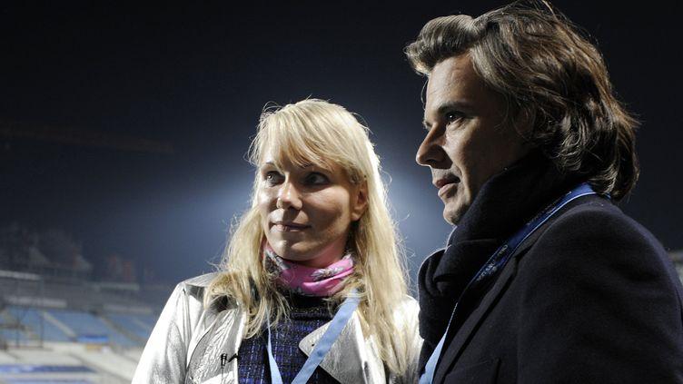 Margarita Louis-Dreyfus, propriétaire de l'OM et Vincent Labrune, Président. (ANNE-CHRISTINE POUJOULAT / AFP)