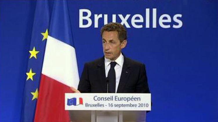 Conférence de presse de Nicolas Sarkozy à Bruxelles (16 septembre 2010) (France 2)