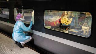 Une soignante observe à travers la vitre d'un TGV médicalisé, le 1er avril 2020, à la gare d'Austerlitz, à Paris. (THOMAS SAMSON / AFP)