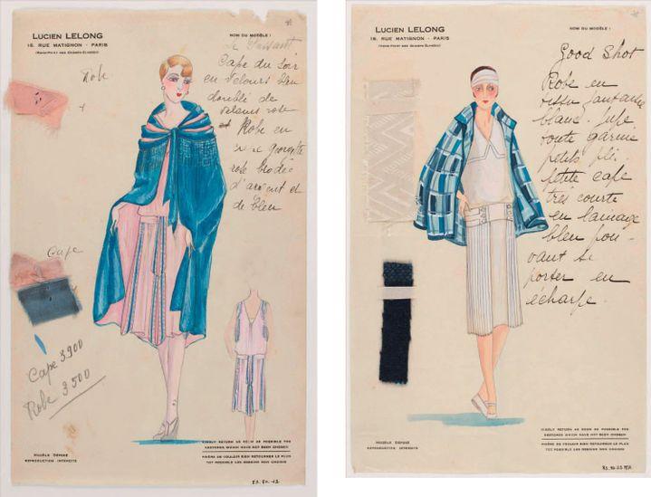 Lucien Lelong (1889-1952). Modèle déposé « Good Shot » (à gauche) et« Le Passant » (à droite), Gouache, crayon graphite, encre de Chine, échantillon. Vers 1925.  (Galliera/Roger-Viollet)