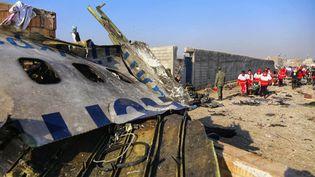 Des équipes de secours travaillent au milieu des débris après qu'un avion ukrainien s'est écrasé près de l'aéroport de Téhéran (Iran), le 8 janvier 2020. (IRANIAN RED CRESCENT SOCIETY / AFP)