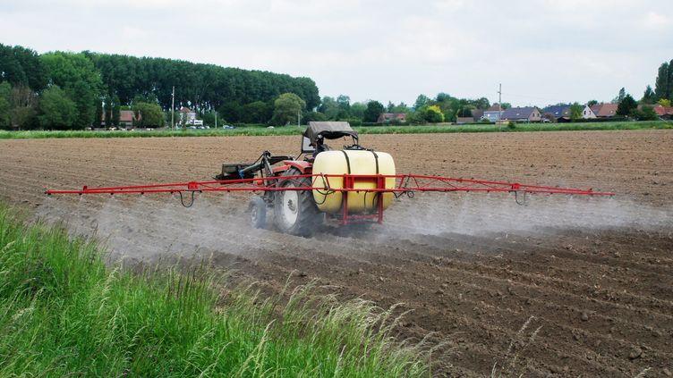 Un agriculteur en plein épandage de pesticides dans son champ le 26 mai 2015. (SEBASTIEN JARRY / MAXPPP)