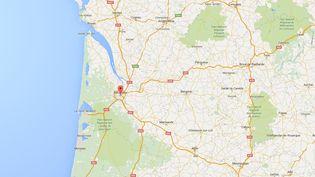 Capture d'écran de Googlemaps pointant Bordeaux (Gironde) où un homme assigné à résidence après les attentats a été contrôlé deux fois hors la loi. (GOOGLEMAPS)