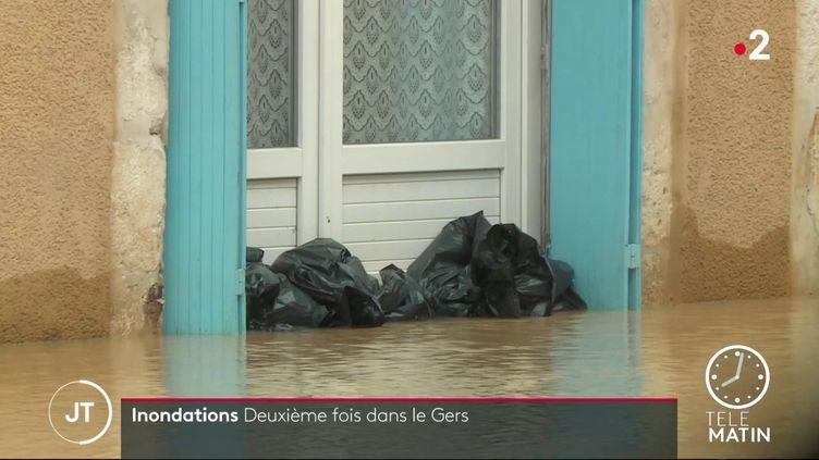 Pour la seconde fois en un mois, le département du Gers est touché par de nouvelles crues.  (France 2)