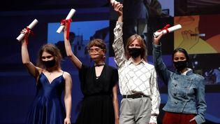 Les quatres lauréates de la sélection Cinéfondation du festival de Cannes 2020 (SEBASTIEN NOGIER/EPA/Newscom/MaxPPP)