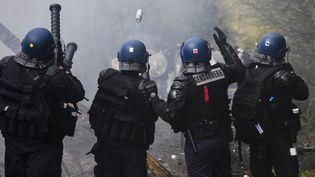 Des gendarmes mobiles lancent des grenades lacrymogènes, le 15 avril 2018 sur la ZAD de Notre-Dame-des-Landes (Loire-Atlantique). (DAMIEN MEYER / AFP)