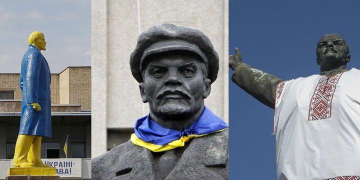 Lénine repeint en jaune et bleu à Donetsk, accessoirisé à Slaviansk, en chemise traditionnelle à Zaporojié... (Reuters / Gleb Garanich ; Valentyn Ogirenko ; Stringer)