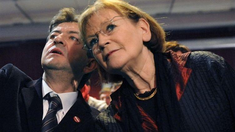 Melenchon et Buffet lors du congrès fondateur du Parti de Gauche (le 31 janvier 2009) (AFP/BORIS HORVAT)
