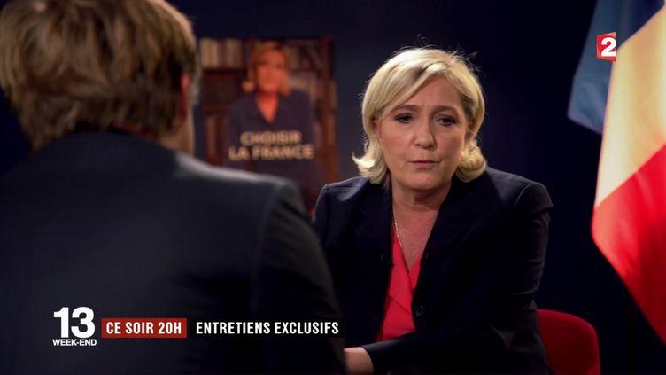 Marine Le Pen, candidate à l'élection présidentielle, interrogé par Laurent Delahousse, dans le cadre d'une interview diffusée dans le journal de 20 heures de France 2 du 30 avril 2017. (FRANCE 2)