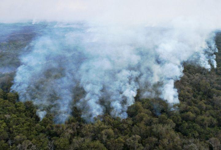 Vue aérienne des incendies de forêt à Pocone, dans le Pantanal (centre-ouest du Brésil), le 1er août 2020. (ROGERIO FLORENTINO / AFP)
