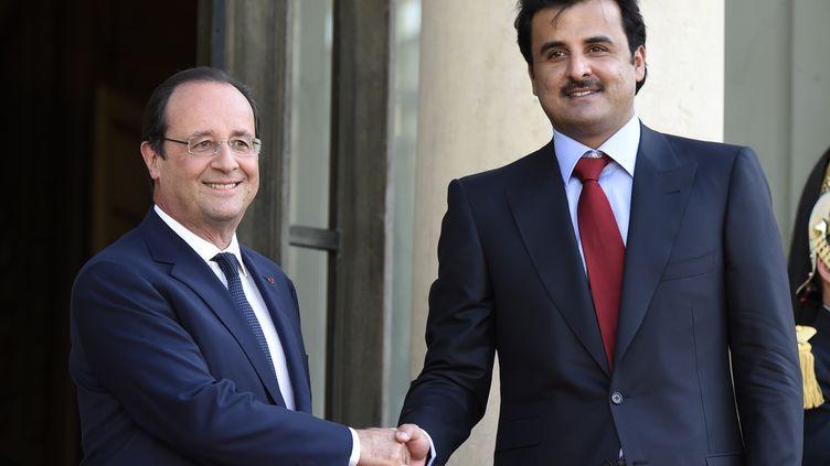 Le président François Hollande et l'émir du Qatar, le Cheikh Tamim ben Hamad Al-Thani, à l'Elysée, le 23 juin 2014. (ERIC FEFERBERG / AFP)