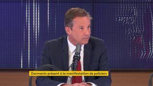 Nicolas Dupont-Aignan, député de l'Essonne, président de Debout la France, était l'invité de franceinfole18 mai 2021. (FRANCEINFO / RADIOFRANCE)
