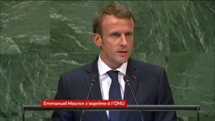 Emmanuel Macron à la tribune de l'assemblée générale des Nations unies, à New York (Etats-Unis), le 25 septembre 2018. (FRANCEINFO)