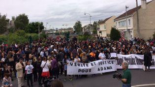 Une marche pour l'anniversaire de la mort d'Adama Traoré, le 22 juillet 2017, à Beaumont-sur-Oise (Val-d'Oise). (WILLIAM VAN QUI / FRANCE 3 PARIS)