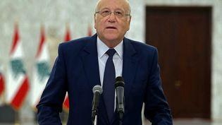 Najib Mikati le nouveau premier ministre libanais, lors d'une conférence de presse, le 26 juillet 2021. (DALATI AND NOHRA / AFP)