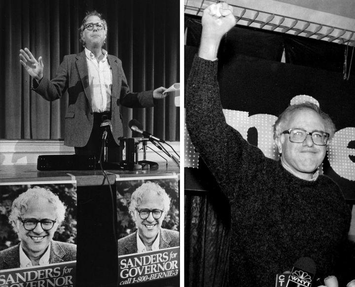 Bernie Sanders en 1986, lors d'une campagne pour le poste de gouverneur du Vermont, et en 1990, après sa victoire au Congrès.  (AP / SIPA)