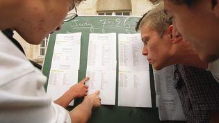 Des lycéens découvrent les résultats du bac, le 6 juillet 2000, au lycée Charlemagne à Paris. (FRANCOIS GUILLOT / AFP)