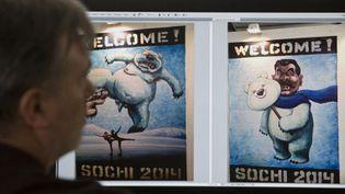 """Un visiteur regarde sur un ordinateur deux affiches satiriques sur les jeux olympiques de Sotchi 2014, une des expositions interdites des """"Nuits blanches de Perm"""", en Russie (juin 2013)  (NATALIA KOLESNIKOVA / AFP)"""