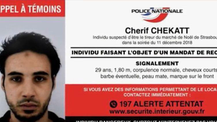 La fiche d'appel à témoins de Cherif Chekatt. (FRANCE 3)