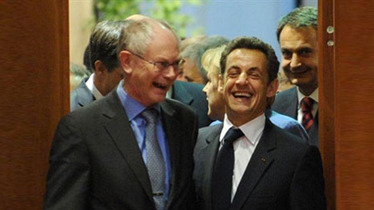Herman Van Rompuy et Nicolas Sarkozy lors Conseil européen à Bruxelles, le 25 mars 2010. (AFP - Georges Gobet)