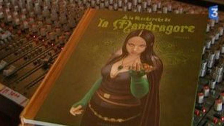 Pascal Lamour à la recherche de la mandragore dans un livre  (Culturebox)