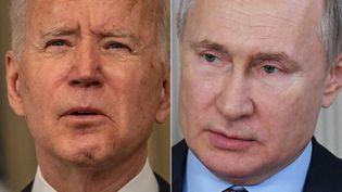 Le président américain Joe Biden (à g.), le 15 mars 2021, et le président russe Vladimir Poutine (à dr.), le 6 mars 2020. (ERIC BARADAT / SPUTNIK)