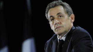 L'ancien président de la République Nicolas Sarkozy, lors d'un meeting à Saint-Julien-les-Villas(Aube), le 2 octobre 2014. (WITT / SIPA)