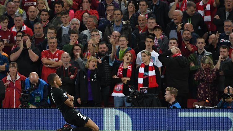 Kylian Mbappé célèbre son but face à Liverpool, le 18 septembre 2018. (PAUL ELLIS / AFP)