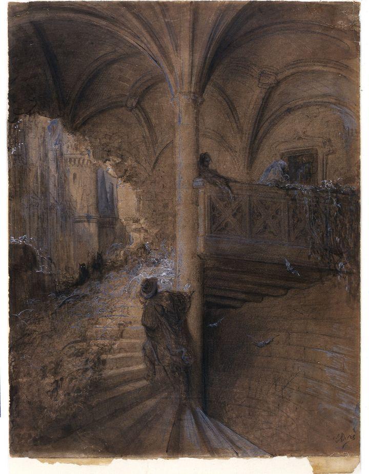 """Gustave Doré, """"Le château enchanté"""", dessin préparatoire à La Belle au bois dormant illustré vers 1867-69, Strasbourg, Musée d'art moderne et contemporain de Strasbourg  (photo Musée de Strasbourg)"""