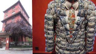 Pagoda Paris (à gauche) + veste en porcelaine de Li Xiaofeng (Chine)  (Corinne Jeammet)