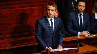 Emmanuel Macron s'exprime devant le Congrès réuni à Versailles (Yvelines), le 3 juillet 2017. (MAXPPP)
