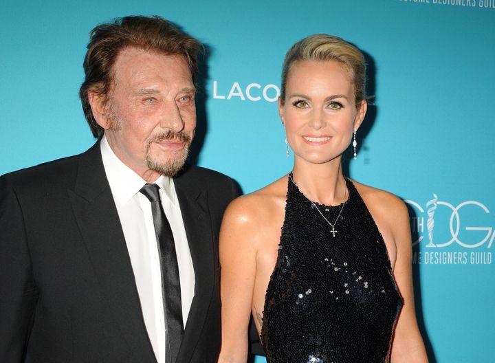 Johnny et Laeticia Hallyday, à Beverly Hills (Californie, Etats-Unis), le 17 février 2015. (MAXPPP)