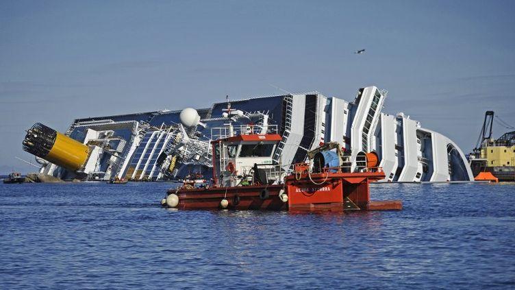 """Le """"Costa Concordia"""" échoué sur la côte de l'île du Giglio (Italie), le 26 janvier 2012. (FILIPPO MONTEFORTE / AFP)"""