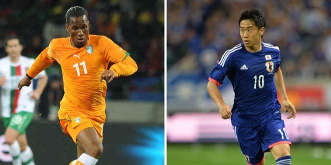 Didier Drogba et Shinji Kagawa