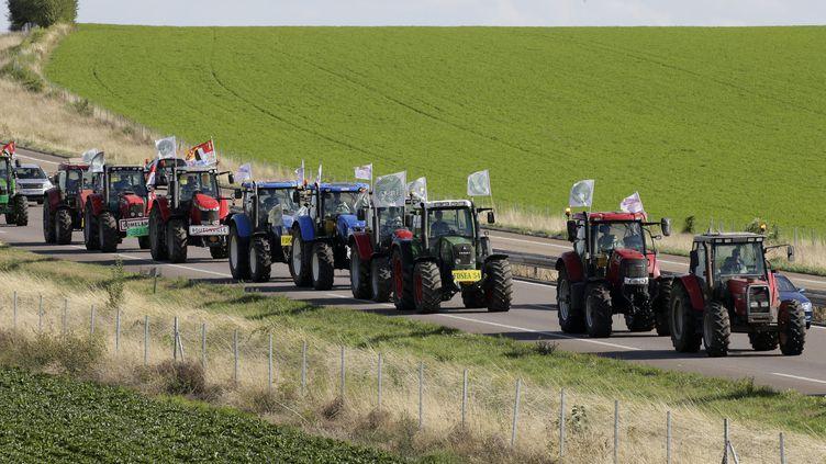 Partis de Lorraine, des tracteurs circulent sur l'autoroute A4 à hauteur de Reims, le 2 septembre 2015, pour participer à une manifestation d'agriculteurs à Paris, le lendemain. (JACKY NAEGELEN / REUTERS / X00198)