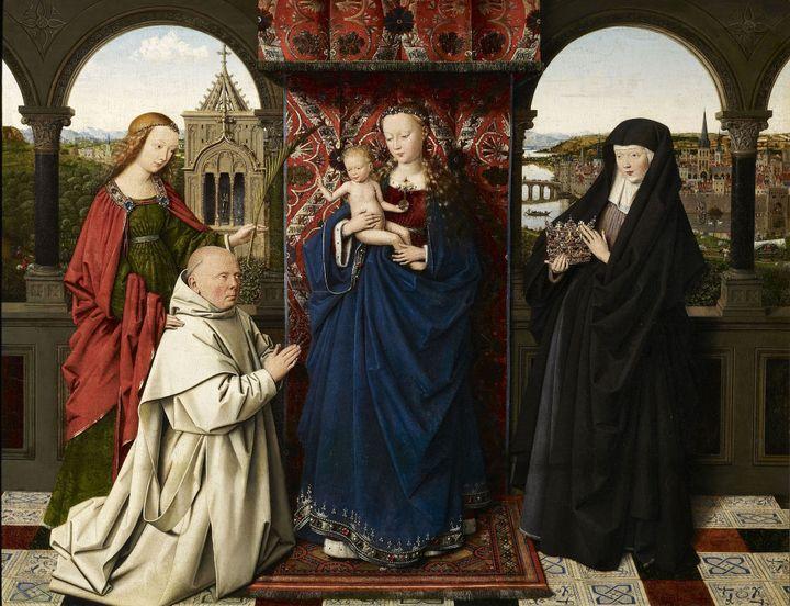 """Jan van Eyck et atelier, """"La Vierge et l'Enfant avec Sainte Barbara, Sainte Elisabeth de Hongrie et Jan Vos, ca 1441-1443, The Frick Collection, New York  (The Frick Collection, New York, photo Michael Bodycomb)"""