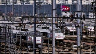 Des TGV aux abords du technicentre de Châtillon (Hauts-de-Seine), le 16 janvier 2017. (MAXPPP)