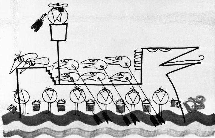 """Une reproduction d'un dessin de la première série des """"Shadoks"""" (1968)  (Michel Lioret / INA)"""
