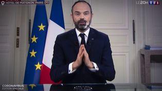 Le Premier ministre Edouard Philippe lors d'une interview en direct sur TF1, le 23 mars 2020. (THOMAS SAMSON / AFP)