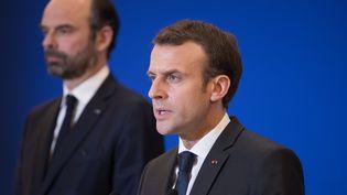 Le Premier ministre, Edouard Philippe, et le président, Emmanuel Macron, à Paris, le 23 mars 2018. (PHILIPPE WOJAZER // REUTERS)