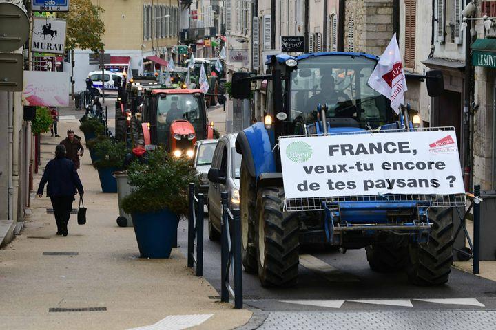 """Des agriculteurs manifestant contre l'""""agribashing"""" à Lons-le-Saunier (Jura), le 22 octobre 2019. (MAXPPP)"""