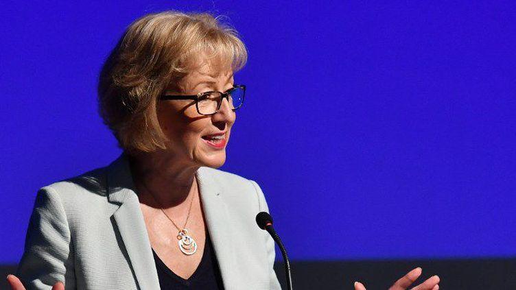 Andrea Leadsom (ici le 7 juillet 2016) est candidate pour diriger le parti conservateur. (BEN STANSALL / AFP)