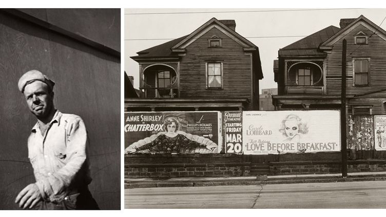 """Walker Evans : A gauche, """"Untitled"""", Detroit, 1946, Fondation A.Stichting, Bruxelles - A droite, """"Houses and Billboards in Atlanta"""", 1936, The Museum of Modern Art, New York  (A gauche © Walker Evans Archive, The Metropolitan Museum of Art Photo: © Fondation A.Stichting, Bruxelles - A droite © Walker Evans Archive, The Metropolitan Museum of Art Photo: © 2016. Digital Image, The Museum of Modern Art, New York / Scala, Florence)"""