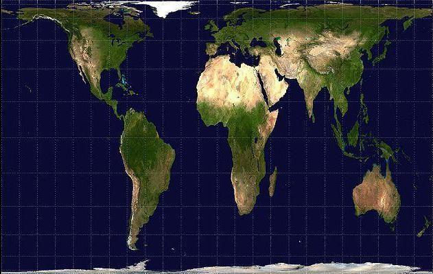 la projection Peters. Contrairement à la projection Mercator, elle n'agrandit pas les régions éloignées de l'équateur. (Wikimedia Commons)