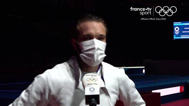 """La première réaction de Romain Cannone après son titre olympique. """"Je suis joueur et je prends du plaisir à chaque touche""""."""